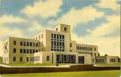 """A postcard-like image of the famed Lovelace Clinic, a setting for several amusing moments in """"The Right Stuff"""""""